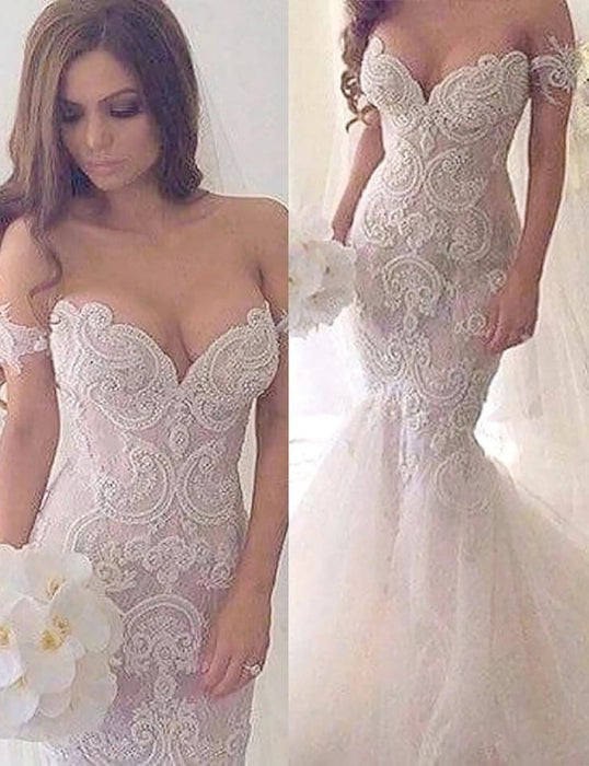 Charming Mermaid Style Off-the-Shoulder Sweep Train Lace Wedding Dress - Wedding Dresses