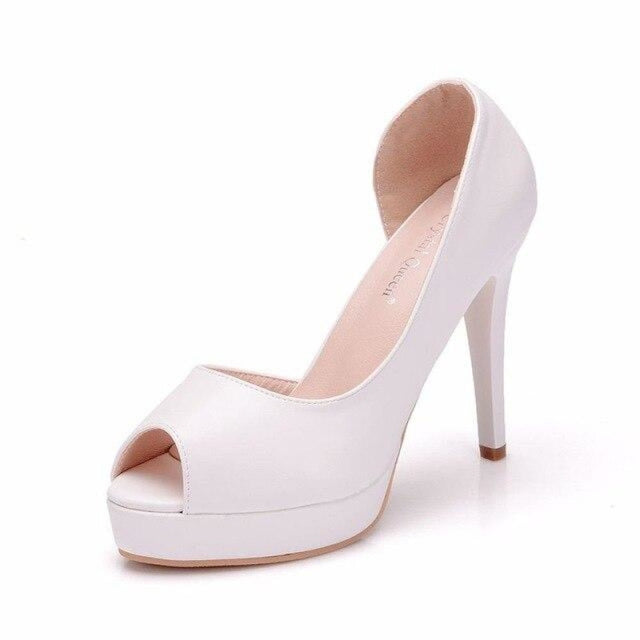 Charming Platform Peep Toe Wedding Sandals | Bridelily - white / 36 - wedding sandals