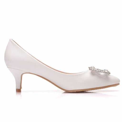Charming Pointed Toe Thin Heel Wedding Pumps | Bridelily - wedding pumps