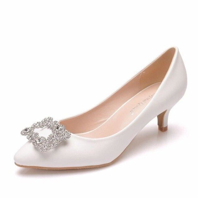 Charming Pointed Toe Thin Heel Wedding Pumps | Bridelily - white / 34 - wedding pumps