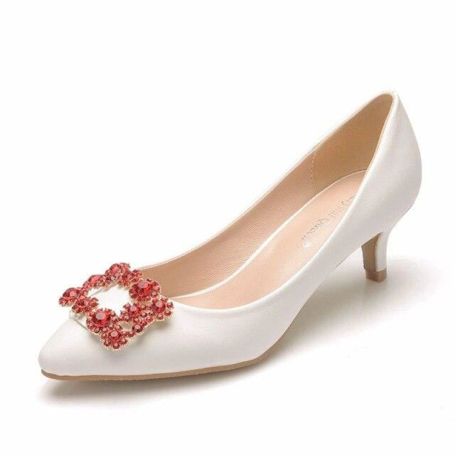 Charming Pointed Toe Thin Heel Wedding Pumps | Bridelily - red / 34 - wedding pumps