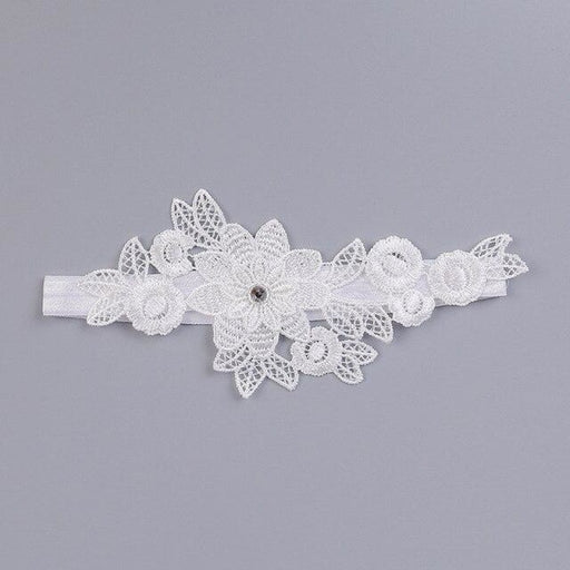 Charming Rhinestone Lace Wedding Garters | Bridelily - White / One size - garters