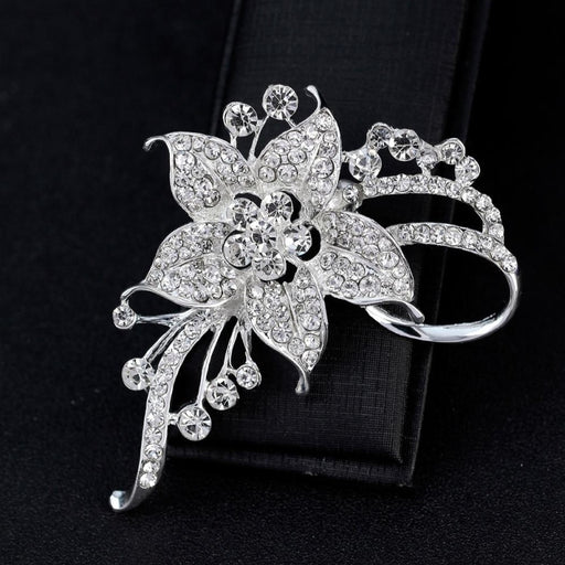 Charming Silver Plated Crystal Wedding Brooches | Bridelily - brooches