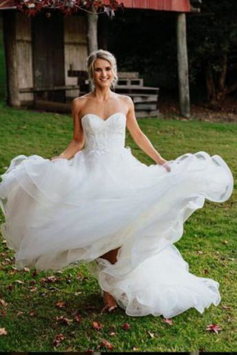 Charming Sweetheart Tulle Puffy Backless Beach Wedding Dress - Wedding Dresses