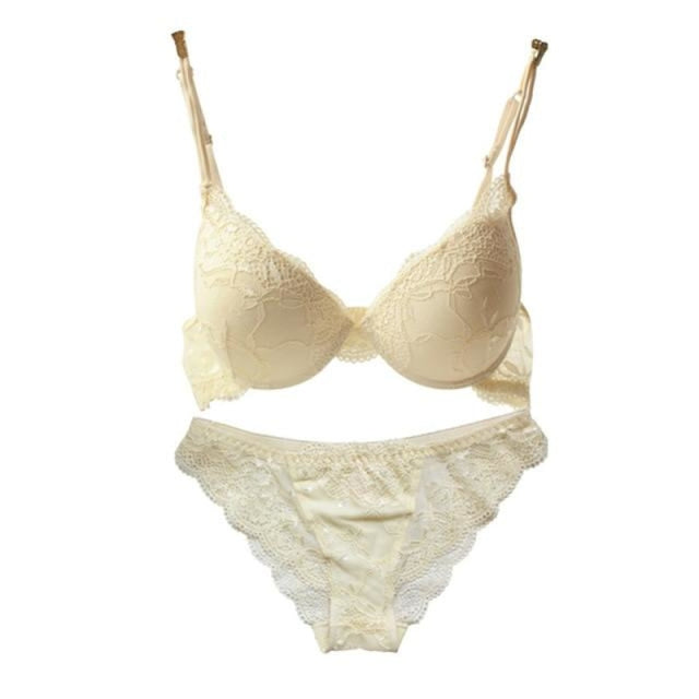 Charming V-Neck Lace Push Up Womens Bras | Bridelily - N milk white / A / 32 - bras