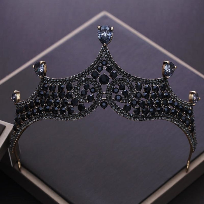 Charming Vintage Black Crystal Beads Tiaras | Bridelily - Dark Blue - tiaras