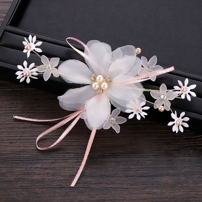 Charming White Flower Handmade Floral Headpieces | Bridelily - Same as picture colour - floral headpieces