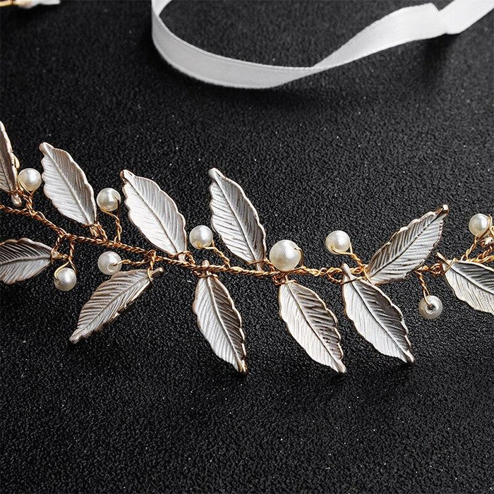 Charming White Leaves Pearls Womens Headbands | Bridelily - headbands