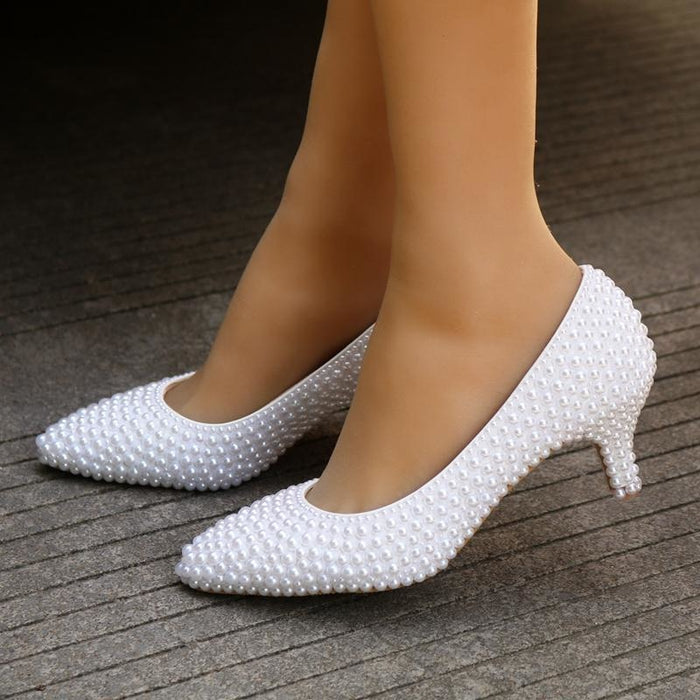 Charming White Pearl High Heel Wedding Pumps | Bridelily - wedding pumps