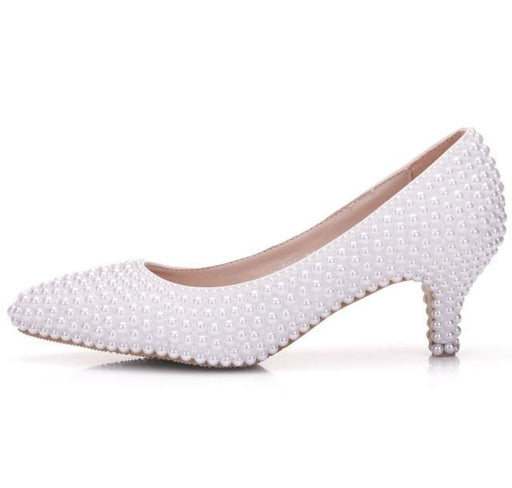 Charming White Pearl High Heel Wedding Pumps | Bridelily - white / 34 - wedding pumps