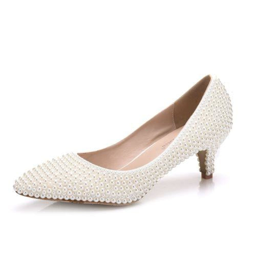 Charming White Pearl High Heel Wedding Pumps | Bridelily - beige / 34 - wedding pumps