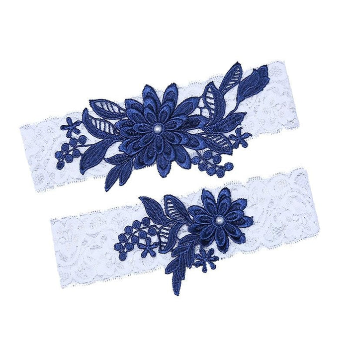 Charms 2pcs Embroidery Lace Wedding Garters | Bridelily - garters