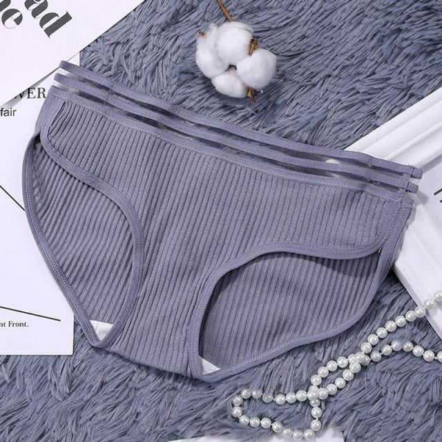 Charms Striped Breathable Underwear Panties | Bridelily - Grey / One Size - panties
