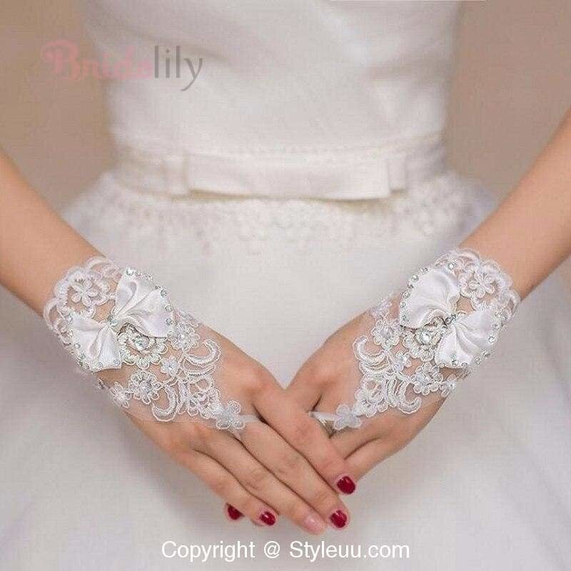 Cheap Beaded Short Fingerless Cheap Wedding Gloves | Bridelily - wedding gloves