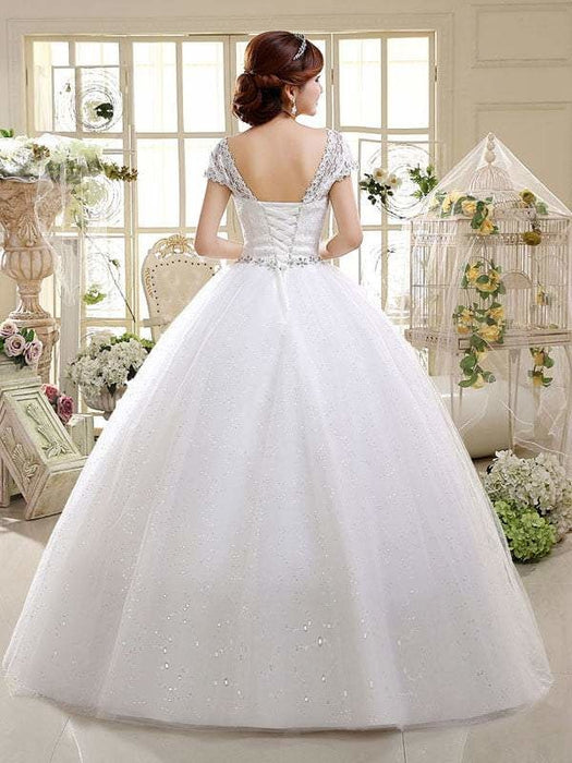 Cheap Bridal Beaded Sequin Crystal Lace Wedding Dress - wedding dresses