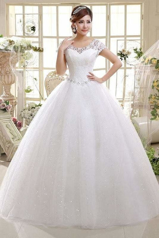 Cheap Bridal Beaded Sequin Crystal Lace Wedding Dress - Ivory / 2 - wedding dresses