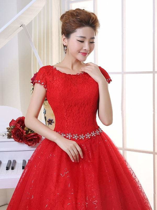 Cheap Bridal Beaded Sequin Crystal Lace Wedding Dress - Red / 2 - wedding dresses