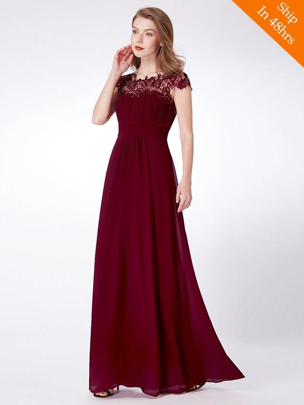 Cheap Chiffon Applique Floor Length Cap Sleeves Bridesmaid Dresses - Burgundy / 4 / United States - bridesmaid dresses