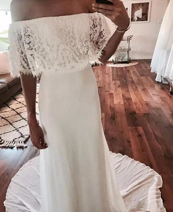 Cheap Country Beach Lace Chiffon Dress Bohemian Wedding Dresss - Wedding Dresses