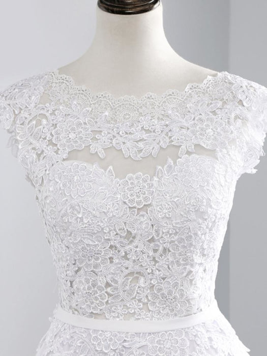 Cheap Jewel Backless Lace A-Line Wedding Dresses - Ivory - wedding dresses