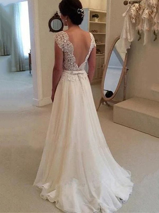 Cheap Jewel Backless Lace A-Line Wedding Dresses - wedding dresses