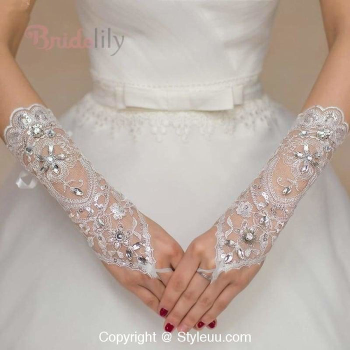 Cheap Lace Crystal Sequin Long Wedding Glove | Bridelily - wedding gloves