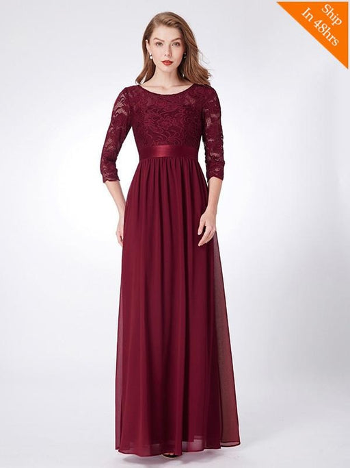 Cheap Long Chiffon Applique Floor Length Bridesmaid Dresses - Burgundy / 4 / United States - bridesmaid dresses