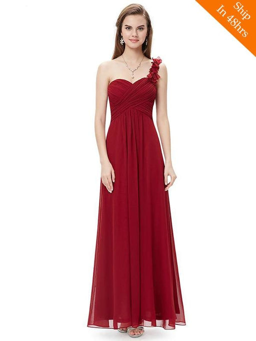 Cheap One shoulder Chiffon Applique Floor Length Bridesmaid Dresses - bridesmaid dresses