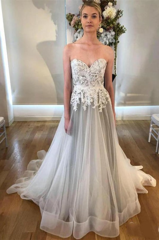 Cheap Sweetheart Neck A Line Silver Grey Long Appliqued Wedding Dress - Wedding Dresses