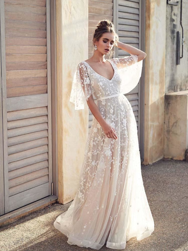 Cheap Beach Boho Lace Wedding Dress With Sleeves Bridelily
