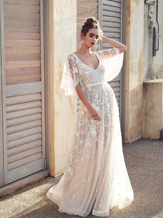 Cheap V Neck Half Sleeve Lace Boho Wedding Dresses - wedding dresses