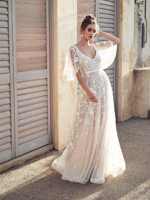 Cheap V Neck Half Sleeve Lace Boho Wedding Dresses - Champagne / Floor Length - wedding dresses