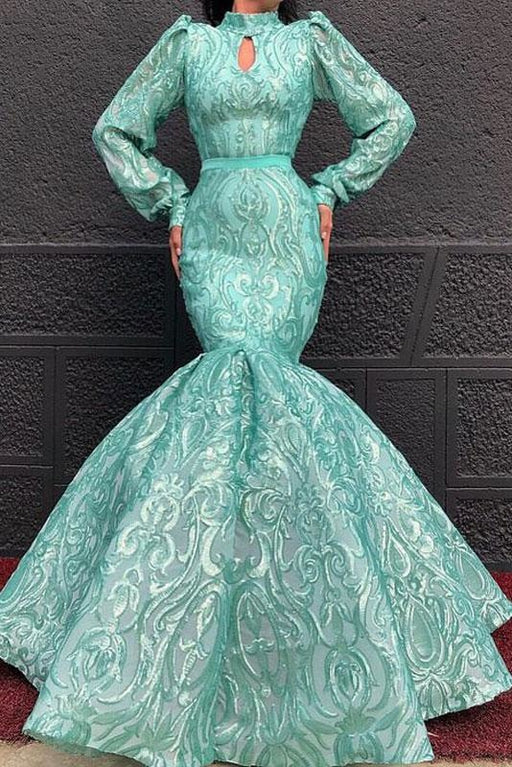 Chic Lace High Neck Long Sleeve Mermaid Prom Dresses - Prom Dresses
