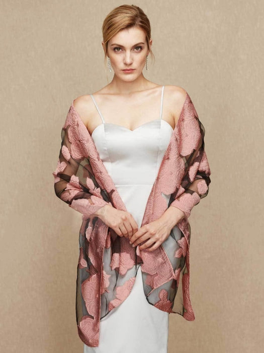 Chiffon Wedding Wrap With Floral Flower Shawls | Bridelily - Dusty Rose / One Size - wedding wraps