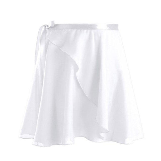 Chiffon Wrap Skirt With Waist Ribbon Dancewear | Bridelily - White / XL - dancewear