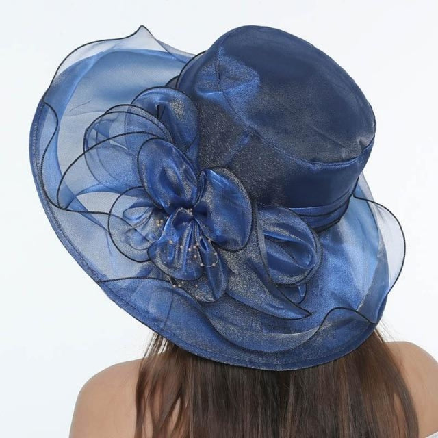 Church Bow Bucket Bowler Wide Brim Kentucky Derby Hats | Bridelily - Blue - kentucky derby hats