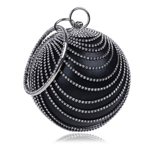 Circular Tassel Diamonds Metal Wedding Handbags | Bridelily - YM1158black - wedding handbags