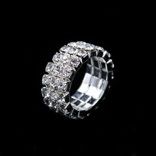 Classic 3 rows Crystal Silver Wedding Rings ( 5pcs/lot ) Bridelily - rings