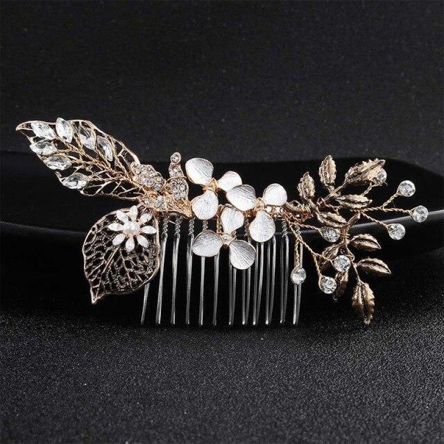 Classic Black Gold Handmade Womens Combs & Barrettes | Bridelily - Black Gold - combs and barrettes