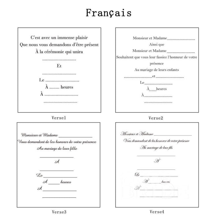 Classic Bowknot Style Tri-Fold Invitation Cards (Set of 50) | Bridelily - As shown in the picture / French / Verse1 - invitation cards