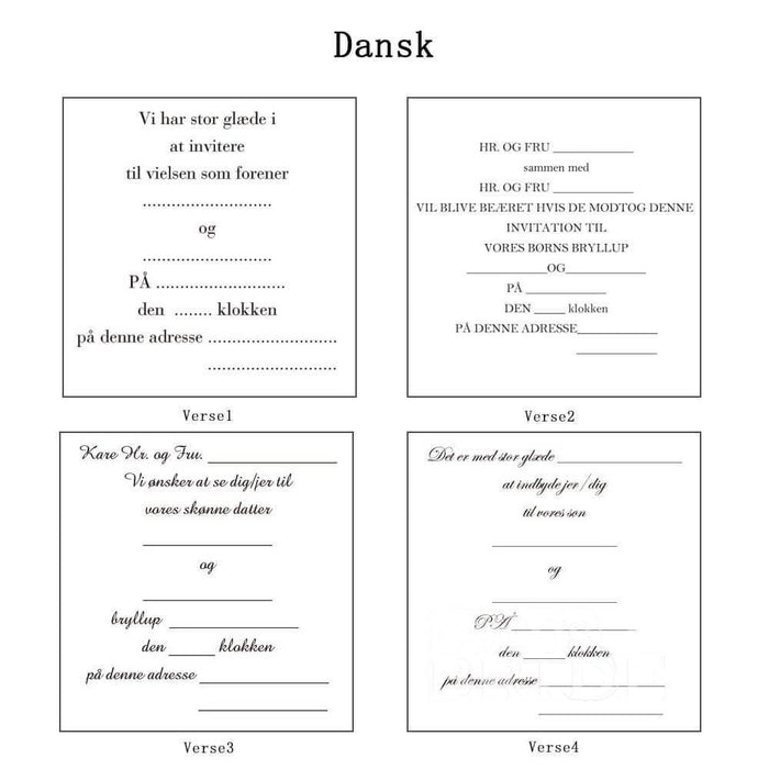 Classic Bowknot Style Tri-Fold Invitation Cards (Set of 50) | Bridelily - As shown in the picture / Dansk / Verse1 - invitation cards