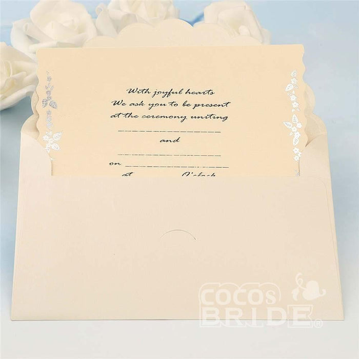 Classic Bowknot Style Tri-Fold Invitation Cards (Set of 50) | Bridelily - invitation cards