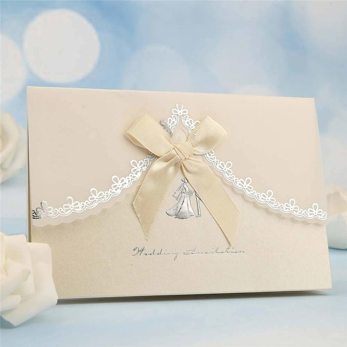 Classic Bowknot Style Tri-Fold Invitation Cards (Set of 50) | Bridelily - As shown in the picture / English / Blank - invitation cards