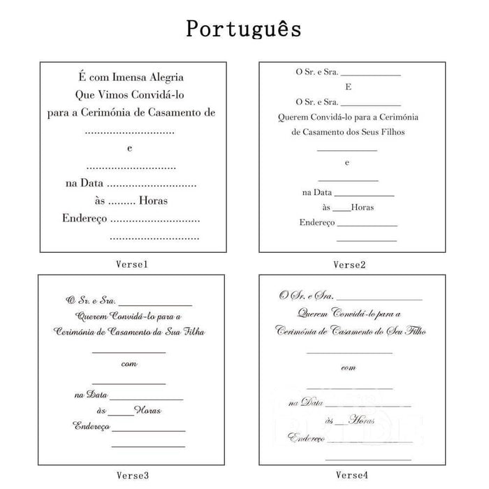 Classic Bowknot Style Tri-Fold Invitation Cards (Set of 50) | Bridelily - As shown in the picture / Portuguesa / Verse1 - invitation cards