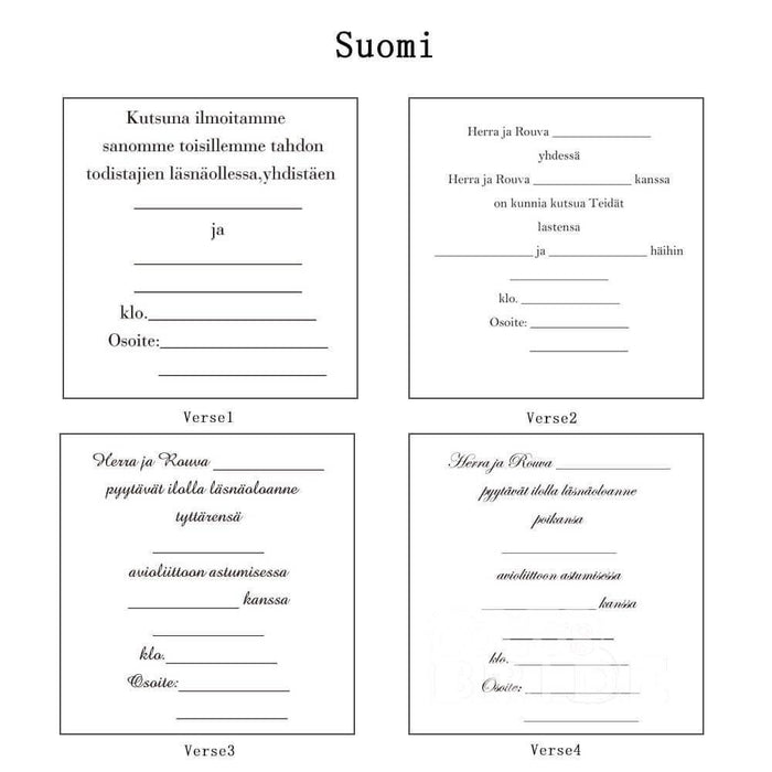 Classic Bowknot Style Tri-Fold Invitation Cards (Set of 50) | Bridelily - As shown in the picture / Suomi / Verse1 - invitation cards