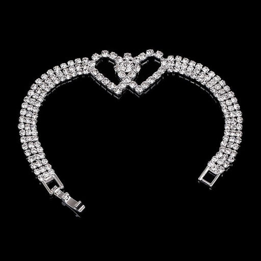 Classic Double Heart Crystal Wedding Bracelets | Bridelily - bracelets