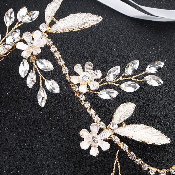 Classic Gold Flowers Vine Crystal Headbands | Bridelily - headbands