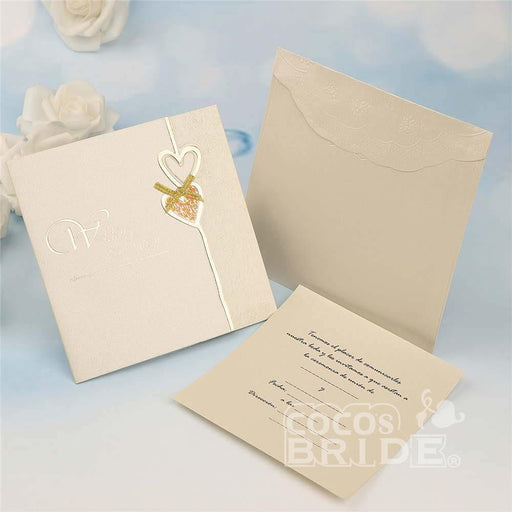 Classic Heart Bowknot Tri-Fold Invitation Cards (Set of 50) | Bridelily - invitation cards