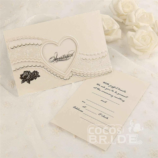 Classic Heart Hollow Style Tri-Fold Invitation Cards (Set of 50) | Bridelily - invitation cards