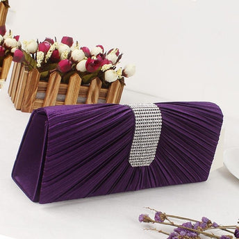 Clutches Rhinestone Chain Satin Wedding Handbags | Bridelily - black - wedding handbags